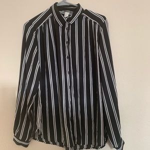 H&M Black and White Striped Button Down